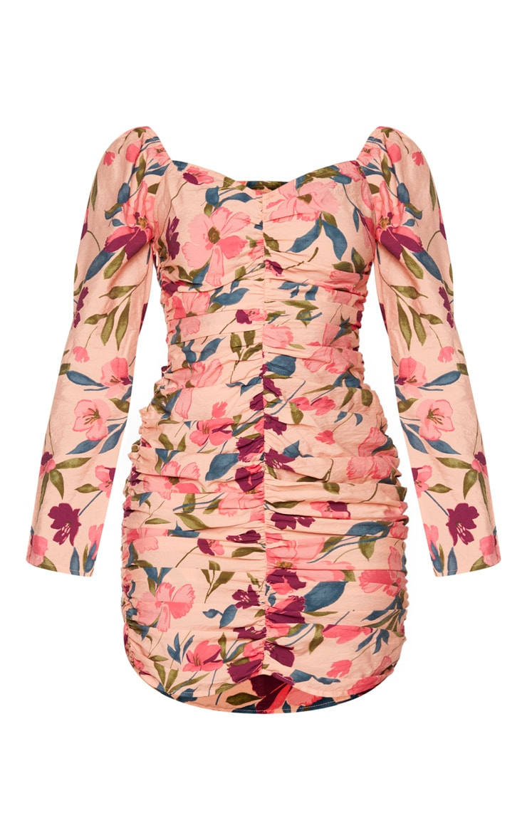 Peach Floral Print Ruched Front Bodycon Dress 5