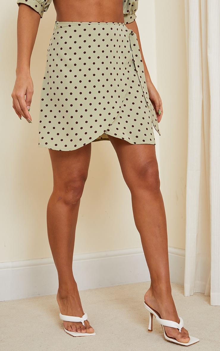 Sage Green Polka Print Wrap Detail Mini Skirt 2