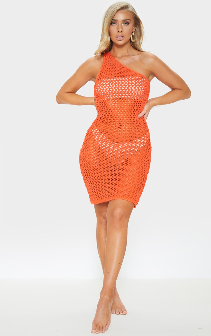 Orange Asymmetric Crochet Knit Dress 1