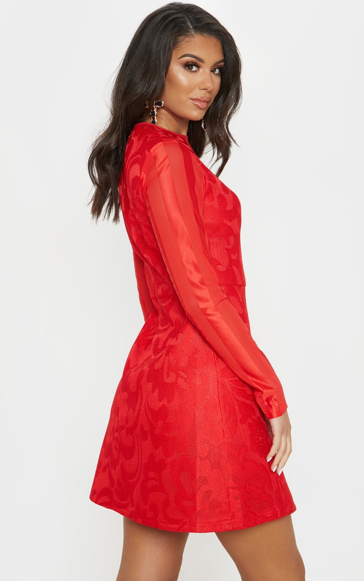 Red Bonded Patterned Mesh Sleeve Skater Dress 3
