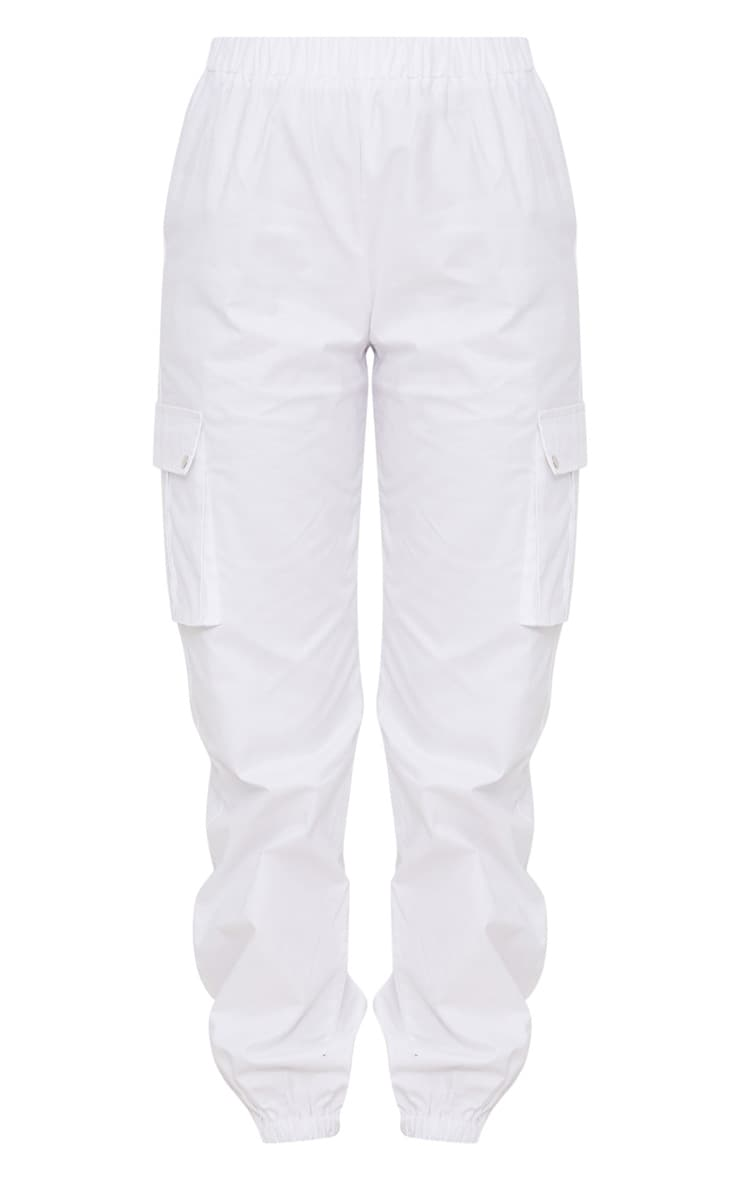 White Pocket Detail Cargo Trousers 3