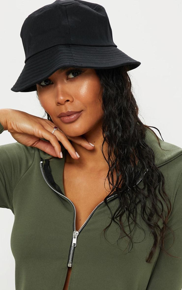 Plain Black Bucket Hat 1