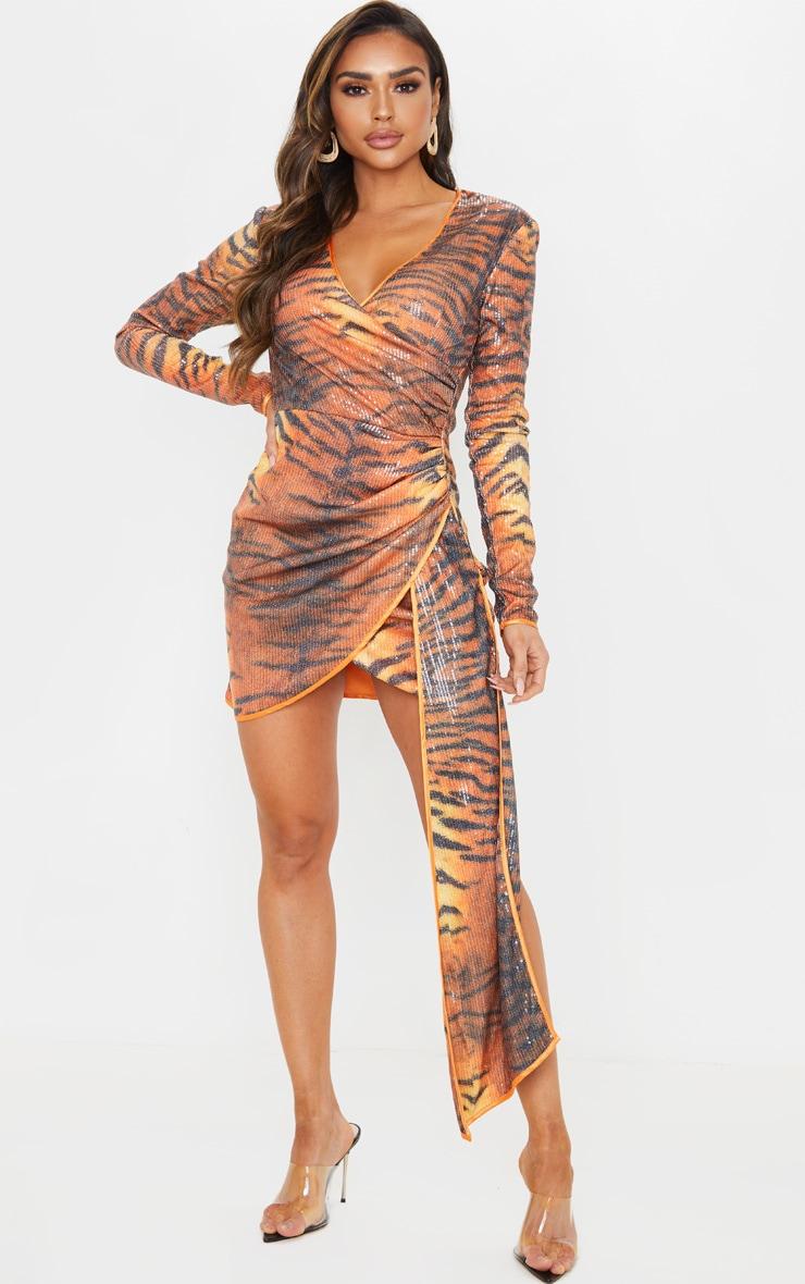 Orange Tiger Print Sequin Long Sleeve Drape Detail Bodycon Dress 1