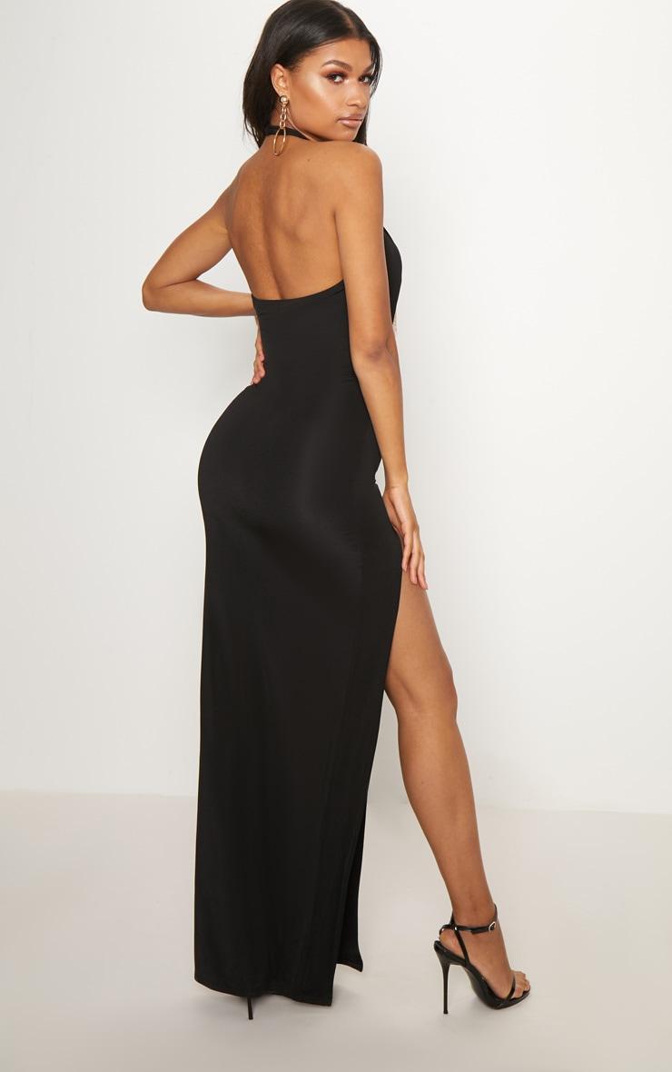 Black Halterneck Chain Trim Maxi Dress 2