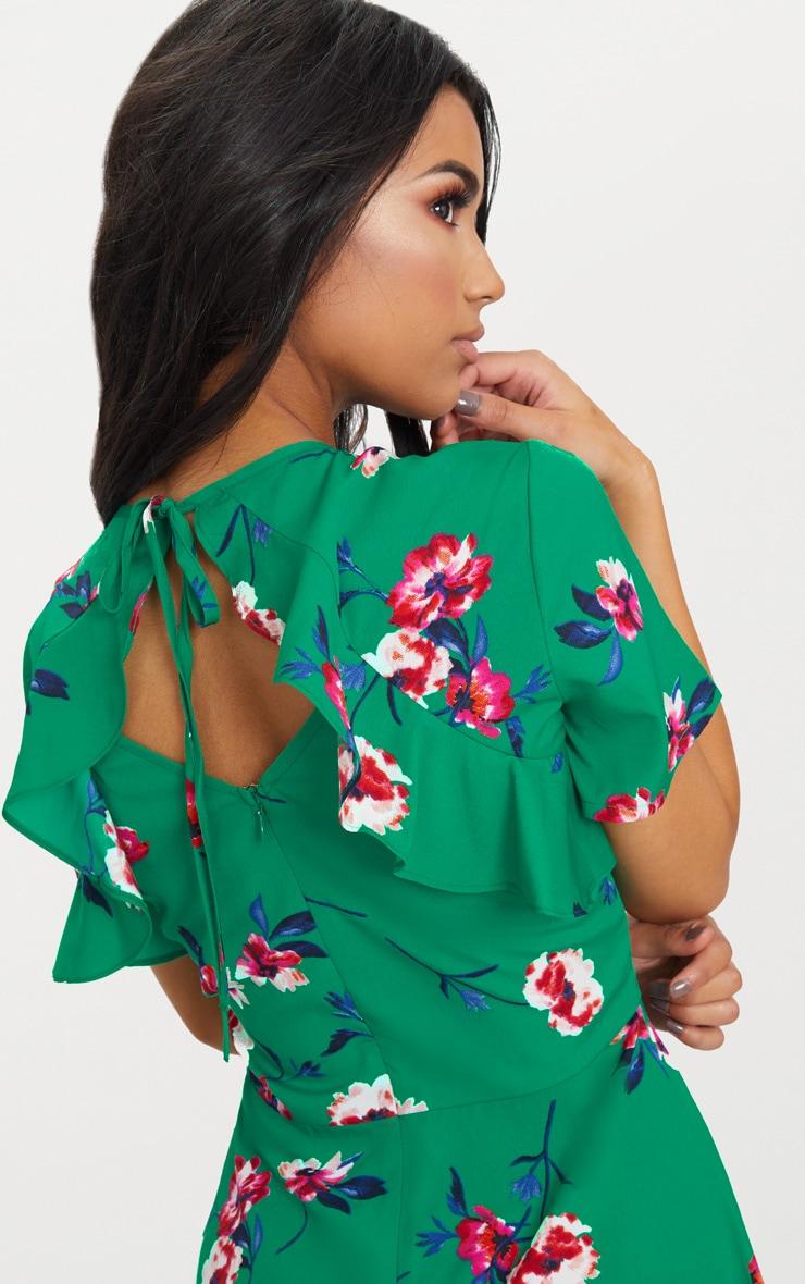 Emerald Green Floral Frill Back Tea Dress 5