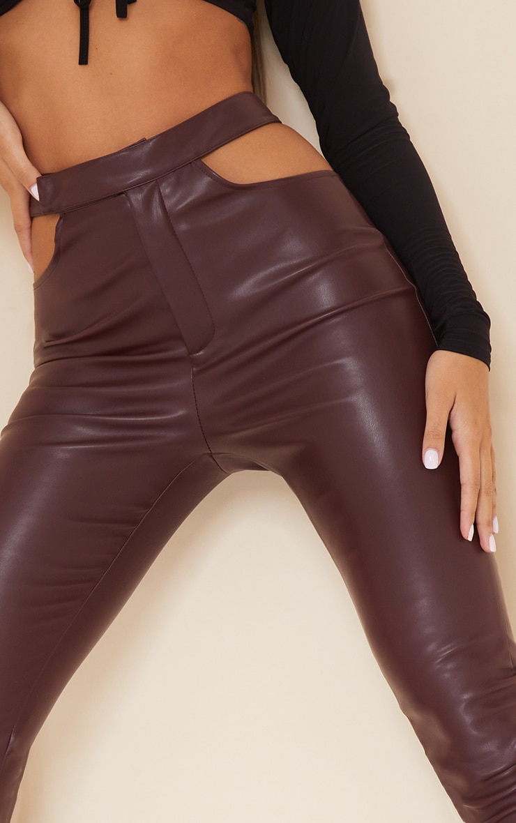 Dark Chocolate Faux Leather Cut Out Detail Skinny Trousers 4