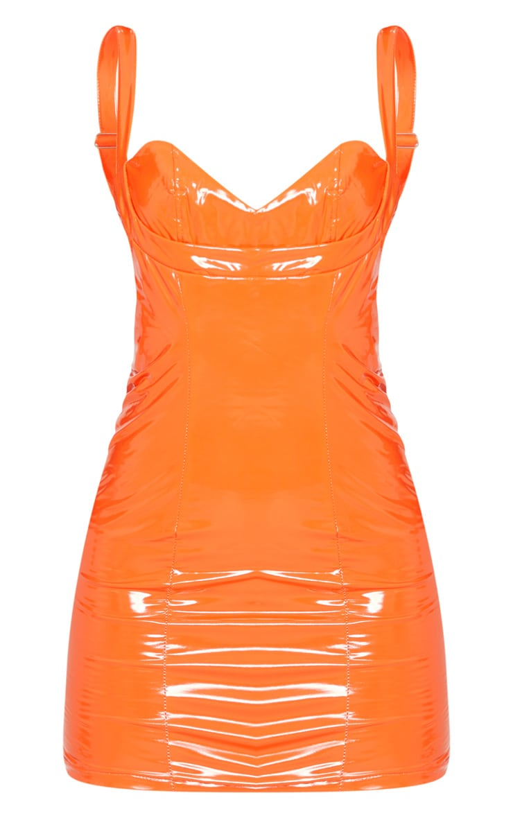 Petite Orange Vinyl Cup Detail Mini Dress 3