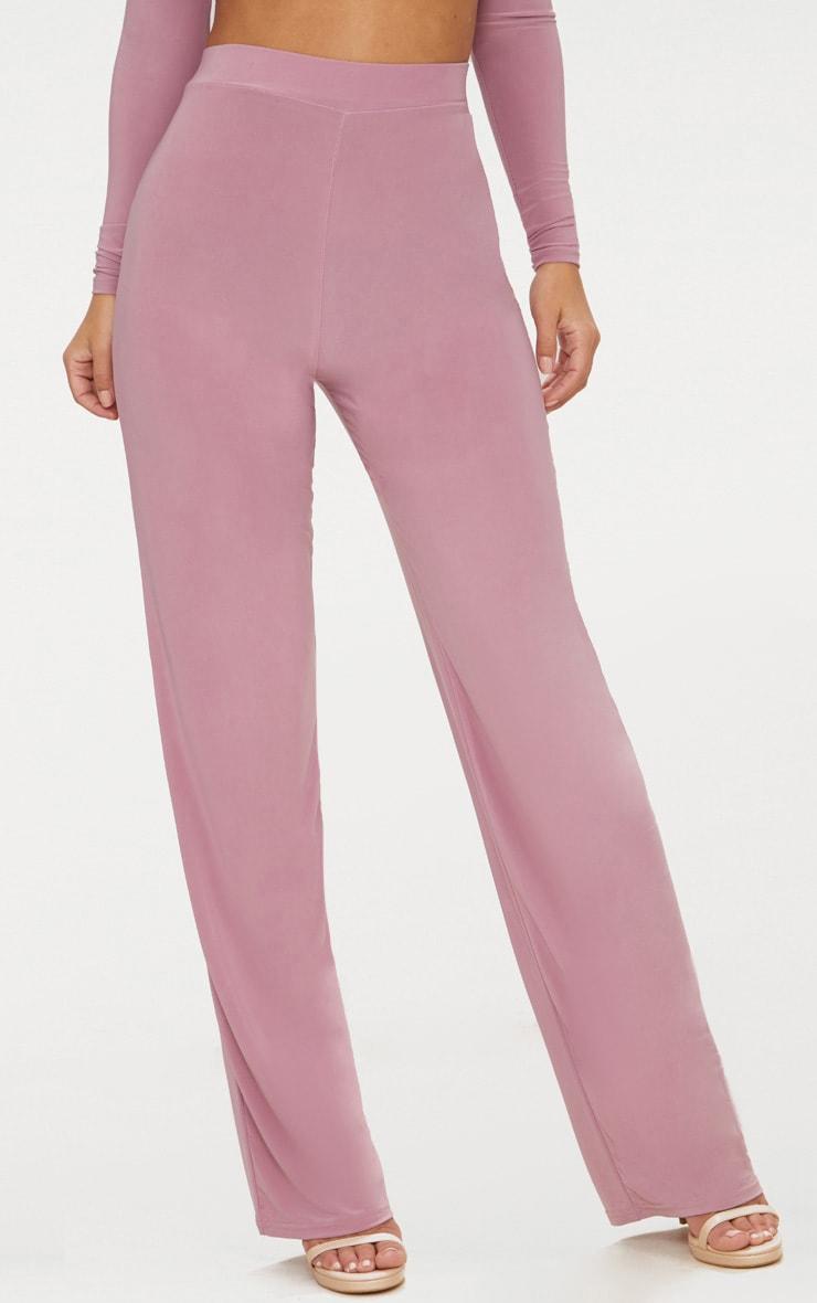 Petite Dark Mauve Slinky Wide Leg Trousers 2