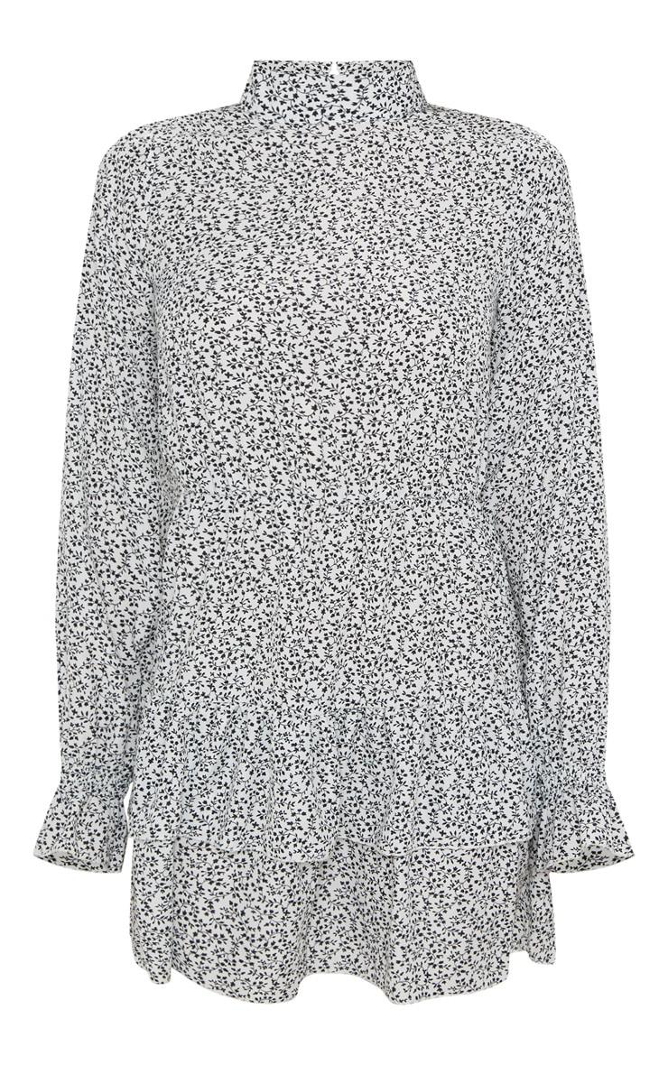 Robe droite plissée blanche à imprimé petites fleurs à col montant  3