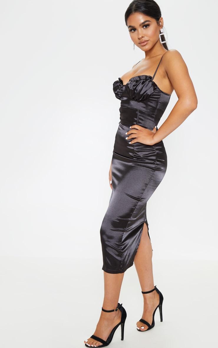 Petite Black Satin Frill Cup Detail Midi Dress 4