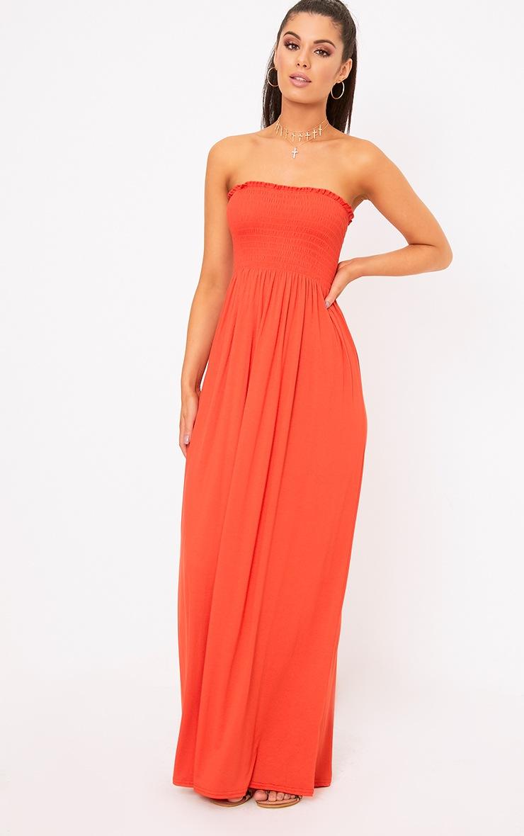 Orange Shirring Detail Bandeau Maxi Dress 4
