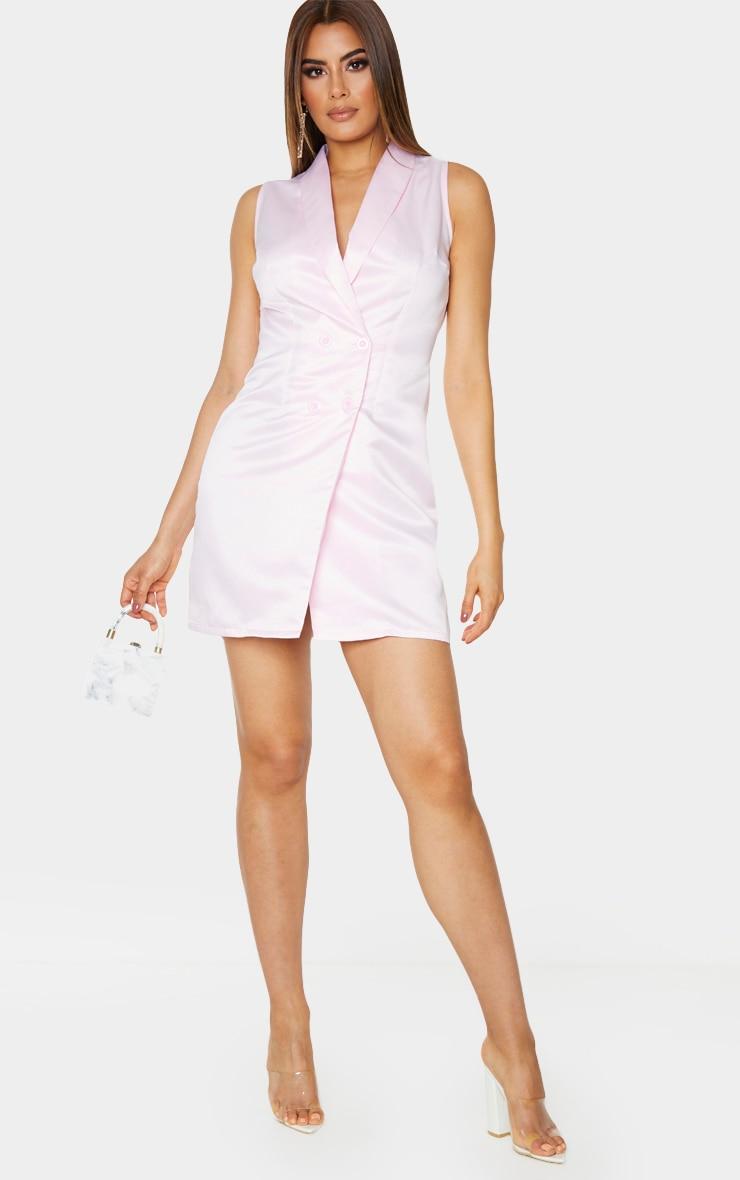 Tall Dusty Pink Sleeveless Plunge Blazer Dress 1