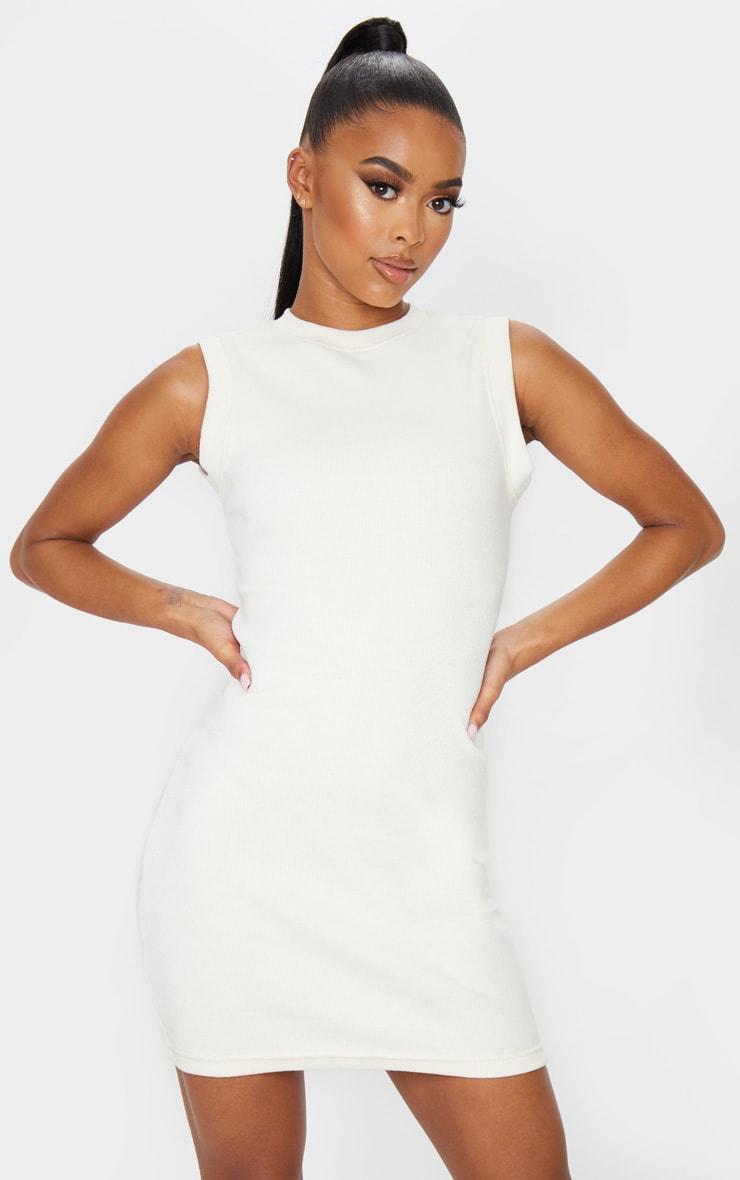 Cream Round Neck Ribbed Mini Dress 1