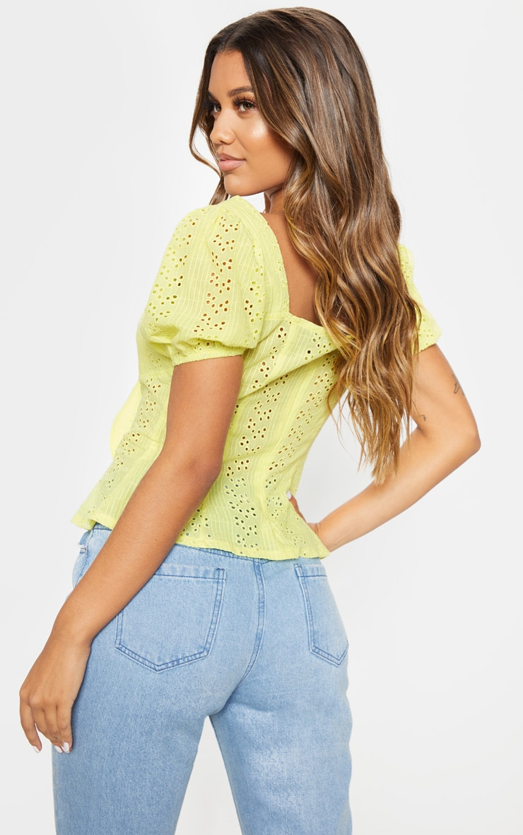 Lemon Broderie Anglaise Puff Sleeve Tie Front Top 2