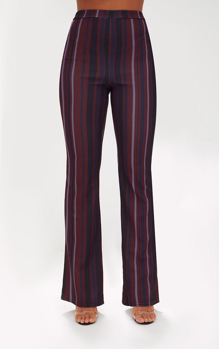 Burgundy Striped Wide Leg Trouser 2