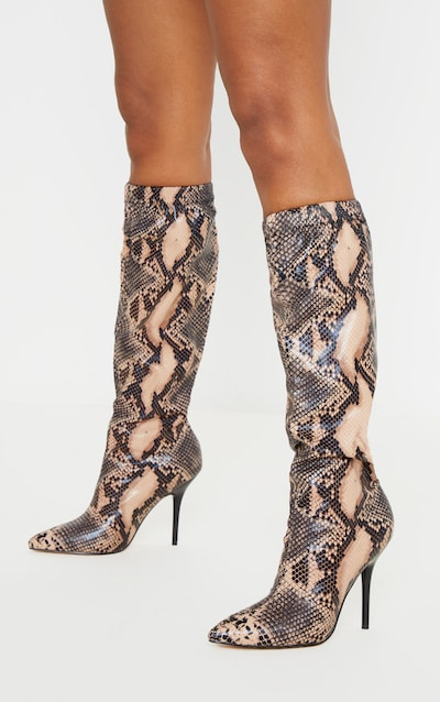Brown Snake Slouch Knee Boot