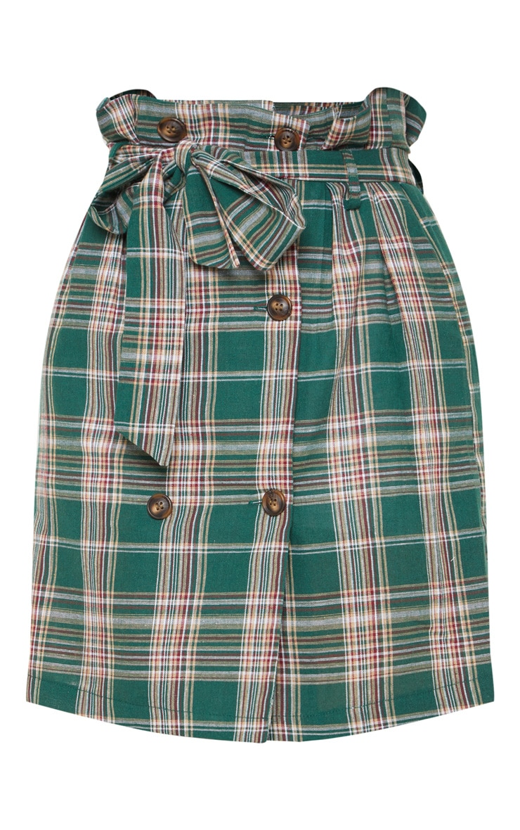 Green Check Tie Waist Button Mini Skirt 3