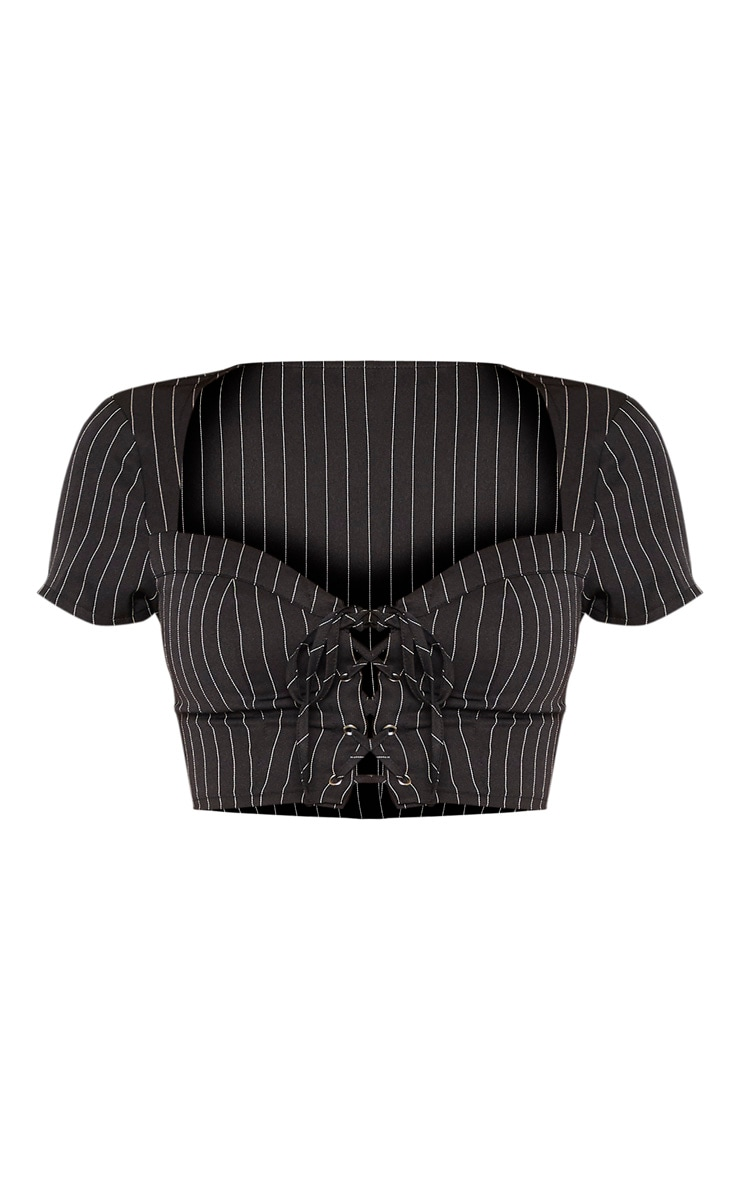 Black Pinstripe Sweetheart Neck Lace Up Crop Top 3