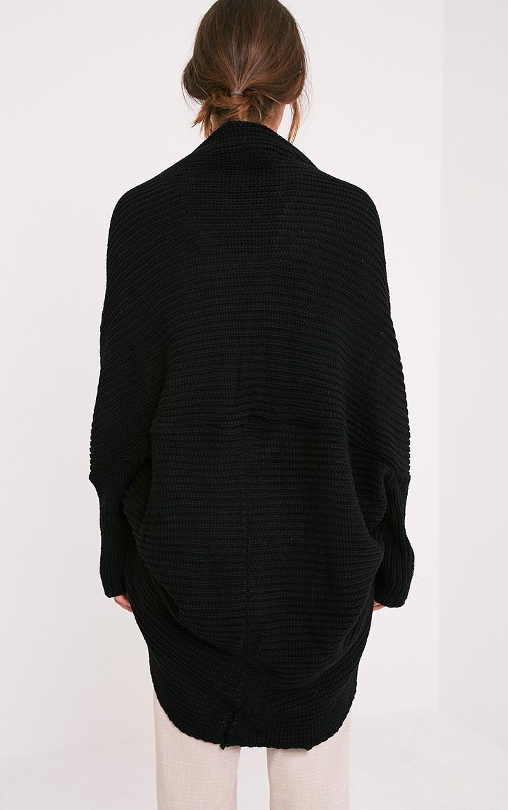Kaylae cardigan cocon tricoté style pêcheur noir 2