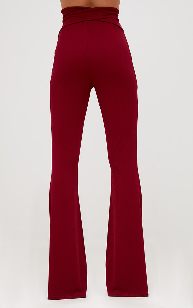 Burgundy Strappy Waist Flared Trousers 3