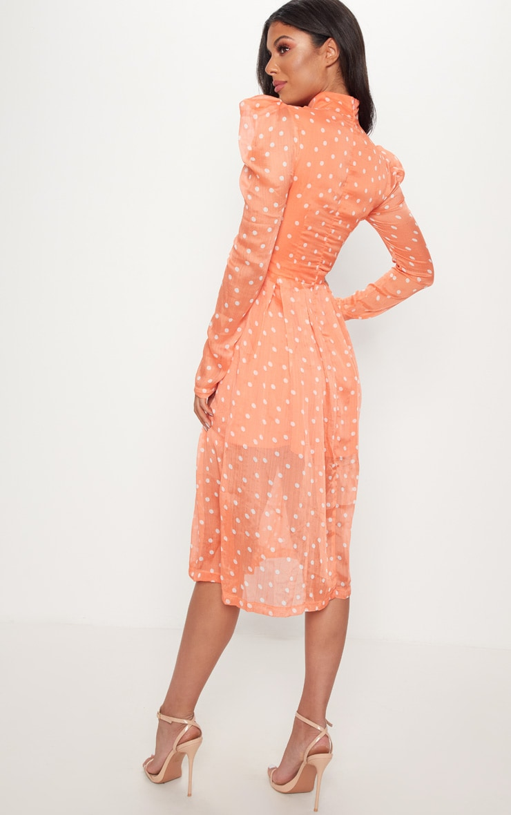 Orange Polka Dot Chiffon Midi Skater Dress 2