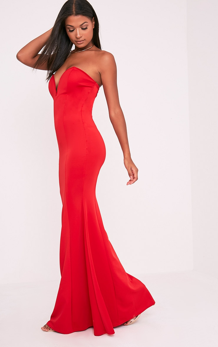 Wendie Red Sweetheart Fishtail Maxi Dress 4