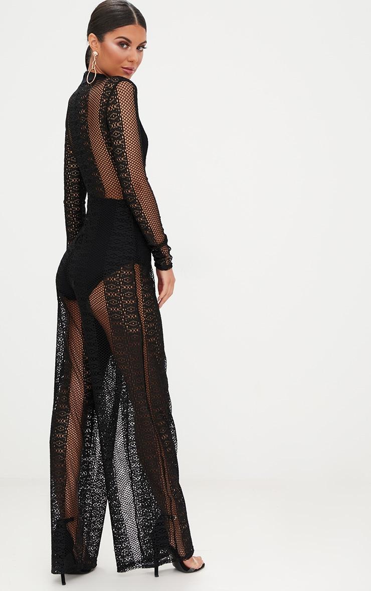 Black Lace High Neck Bra Insert Jumpsuit 2