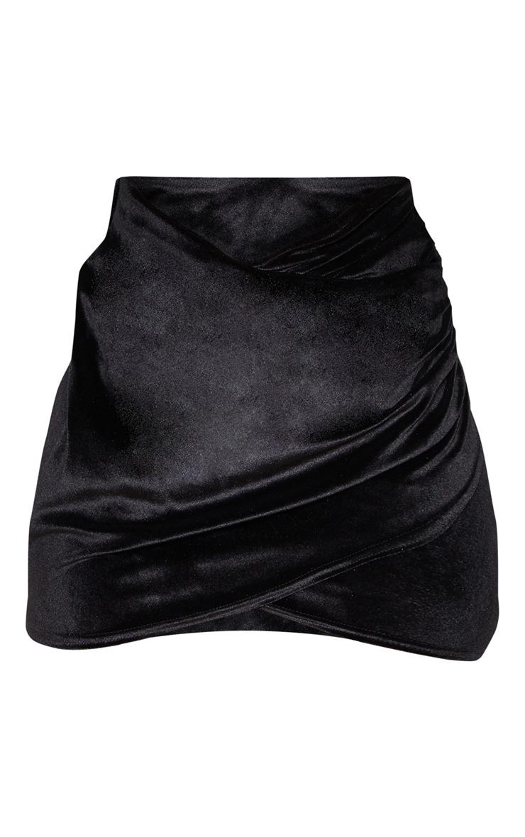 Black Velvet Wrap Over Ruched Mini Skirt 3