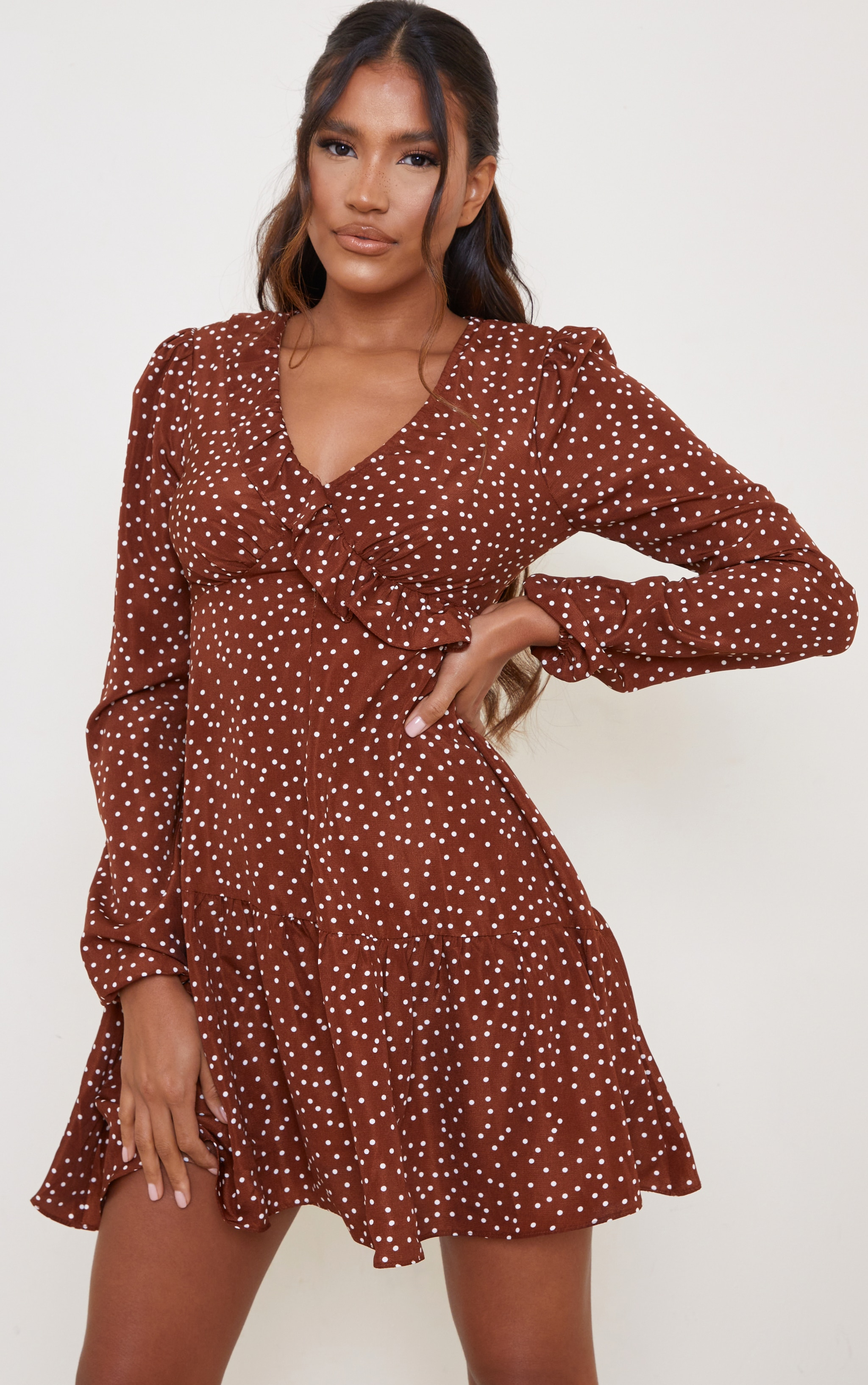 Chocolate Polka Dot Frill Bust Detail Drop Hem Tea Dress 1