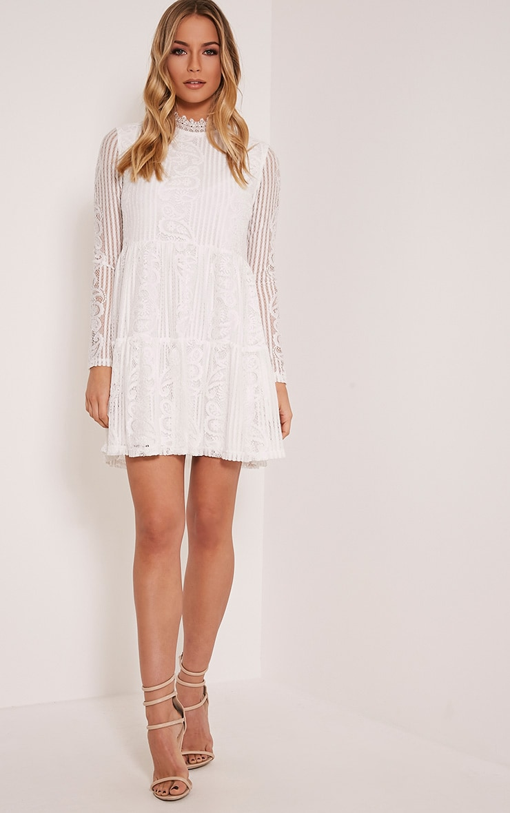 Saffron White High Neck Lace Skater Dress 5