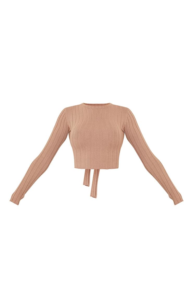 Crop top en maille tricot côtelée camel noué derrière 5
