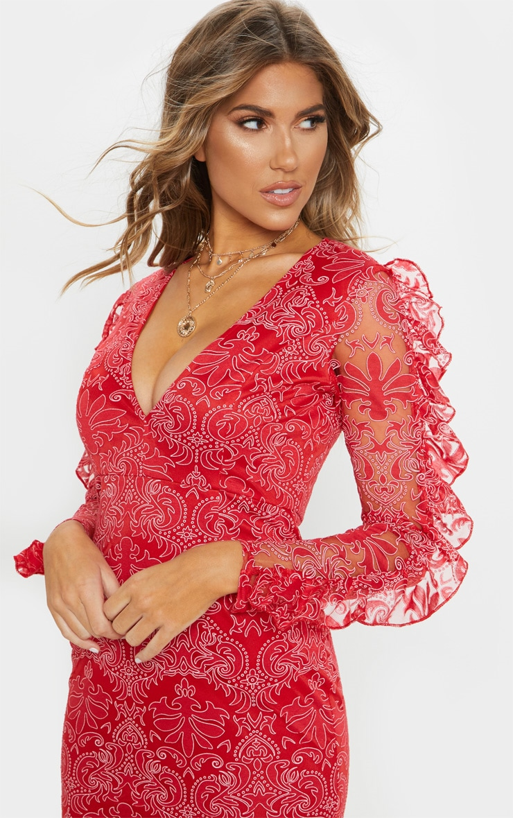 Red Lace Plunge Frill Sleeve Midi Dress 4