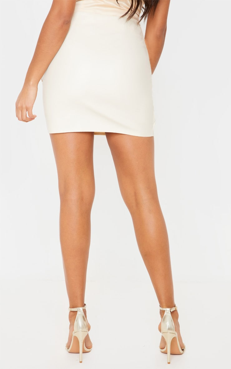 Cream Faux Leather Tie Front Mini Skirt  4