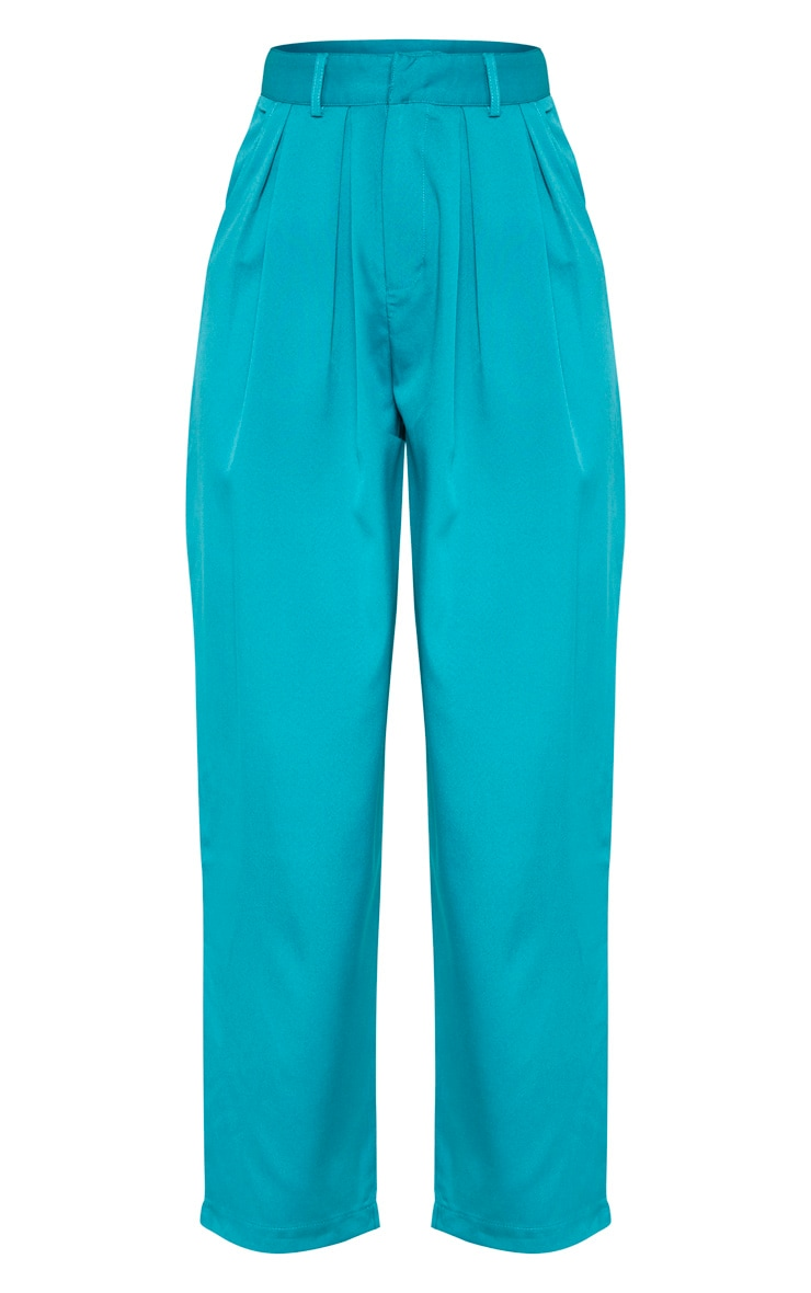 Teal Woven High Waisted Cigarette Trouser 3
