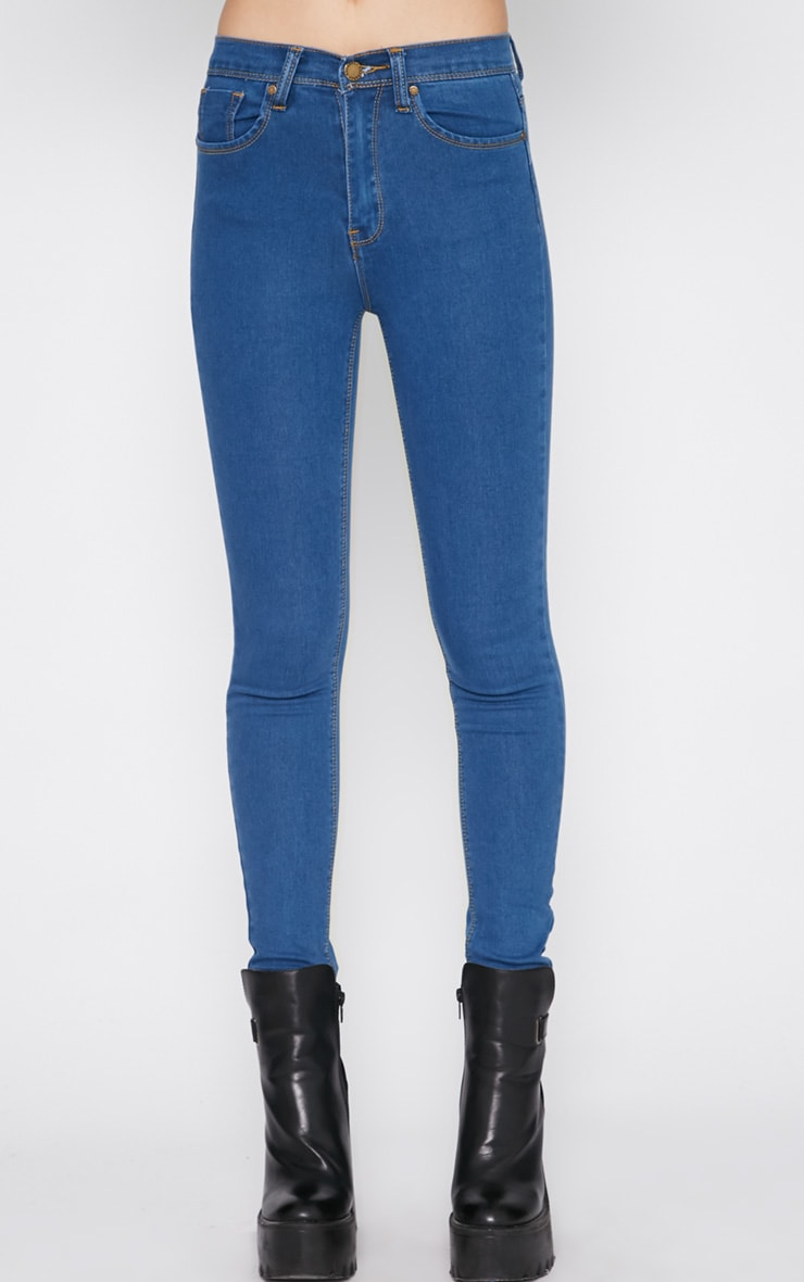 Lowri Mid Wash Rolled Up High Waist Skinny Jean  2