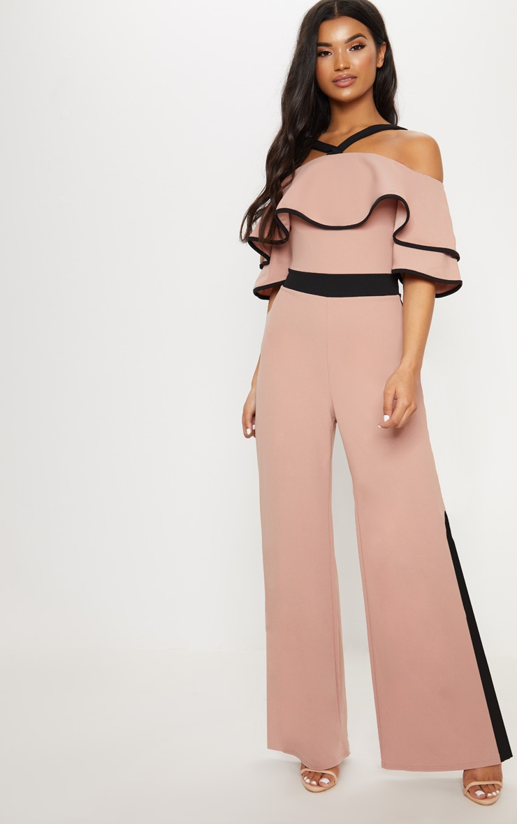 Dusky Pink Contrast Cold Shoulder Jumpsuit 4