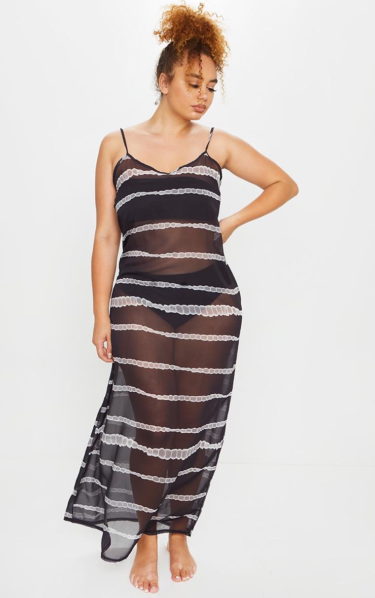 Plus Black Tie Dye Striped Sheer Strappy Maxi Dress