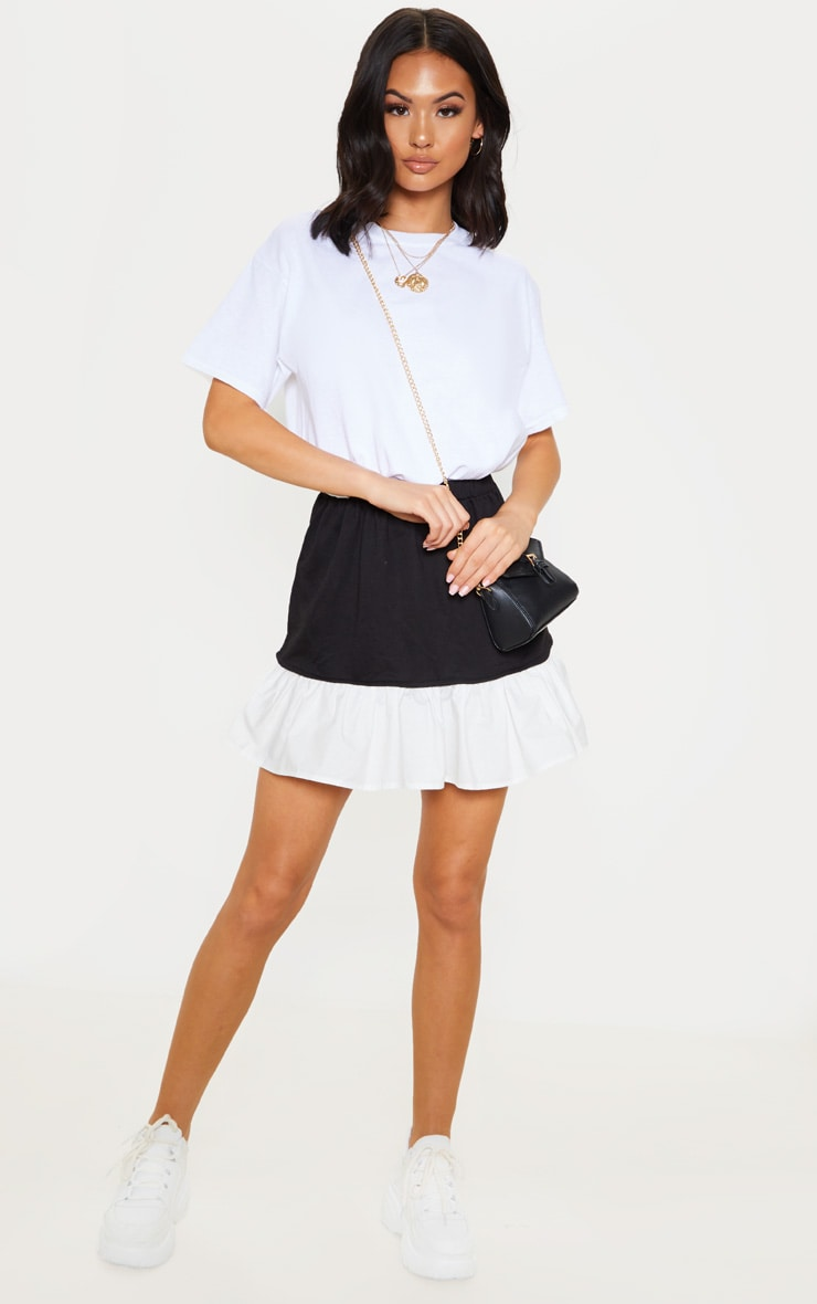 Black Poplin Contrast Frill Hem Mini Skirt  1