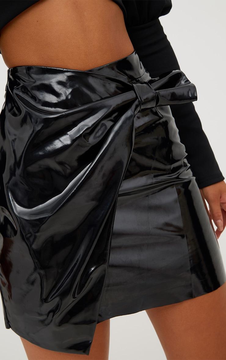 Black Vinyl Bow Wrap Mini Skirt 6