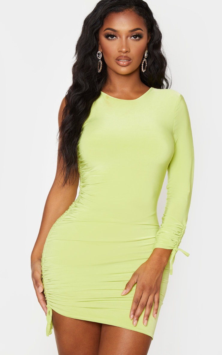Shape Lime Slinky Ruched Side One Sleeve Bodycon Dress 4