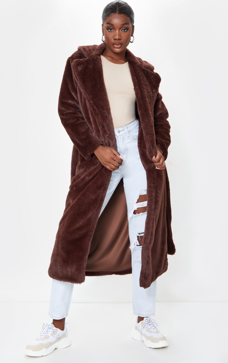 Tall Chocolate Belted Faux Fur Coat 3