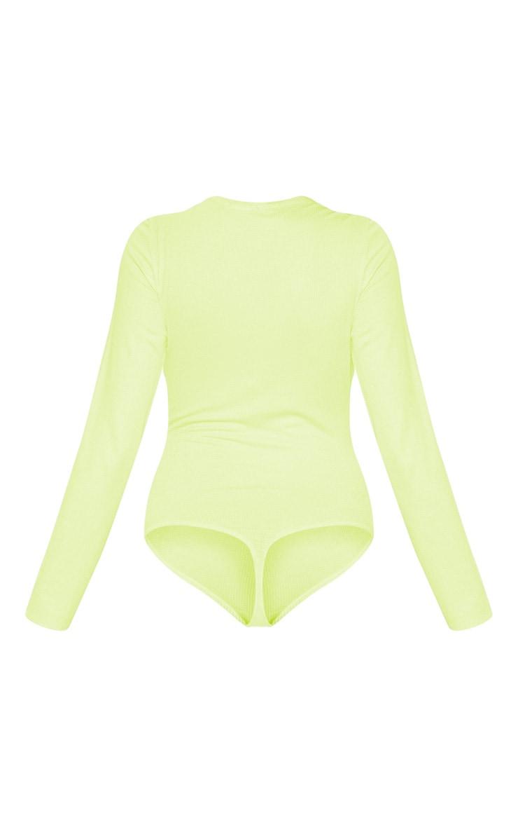 Lime Long Sleeve Popper Detail Thong Bodysuit 4