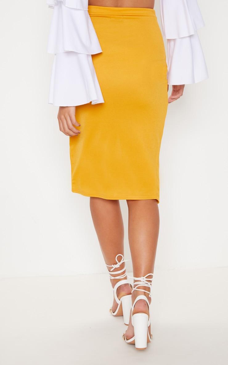 Mustard Twist Front Midi Skirt 4