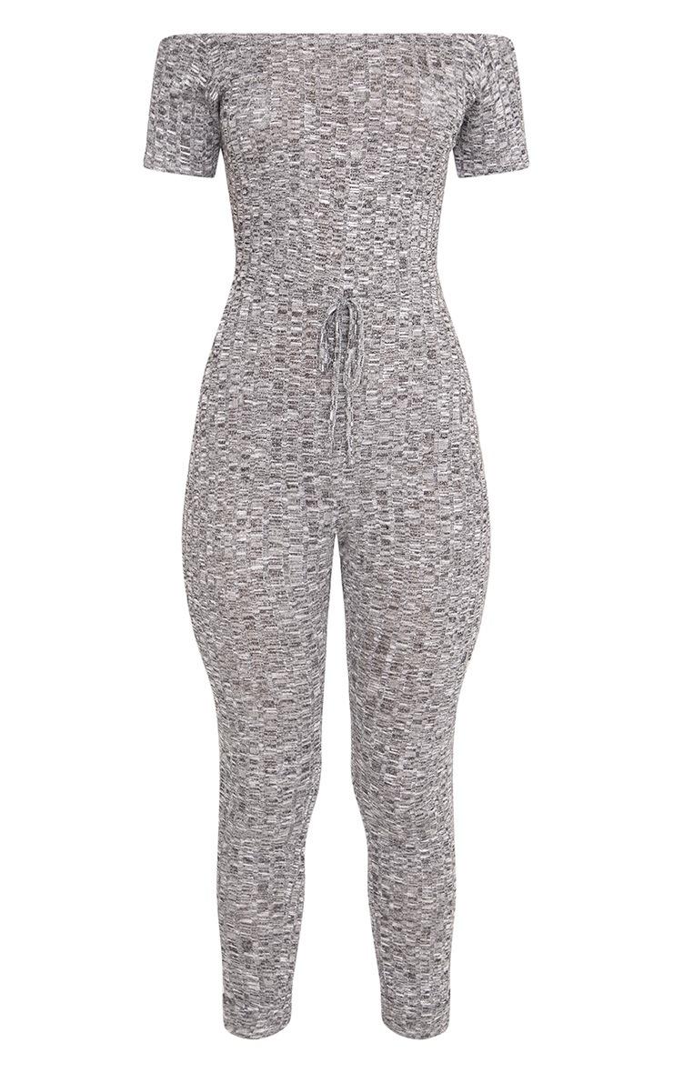Farrah Grey Bardot Knitted Jumpsuit  3