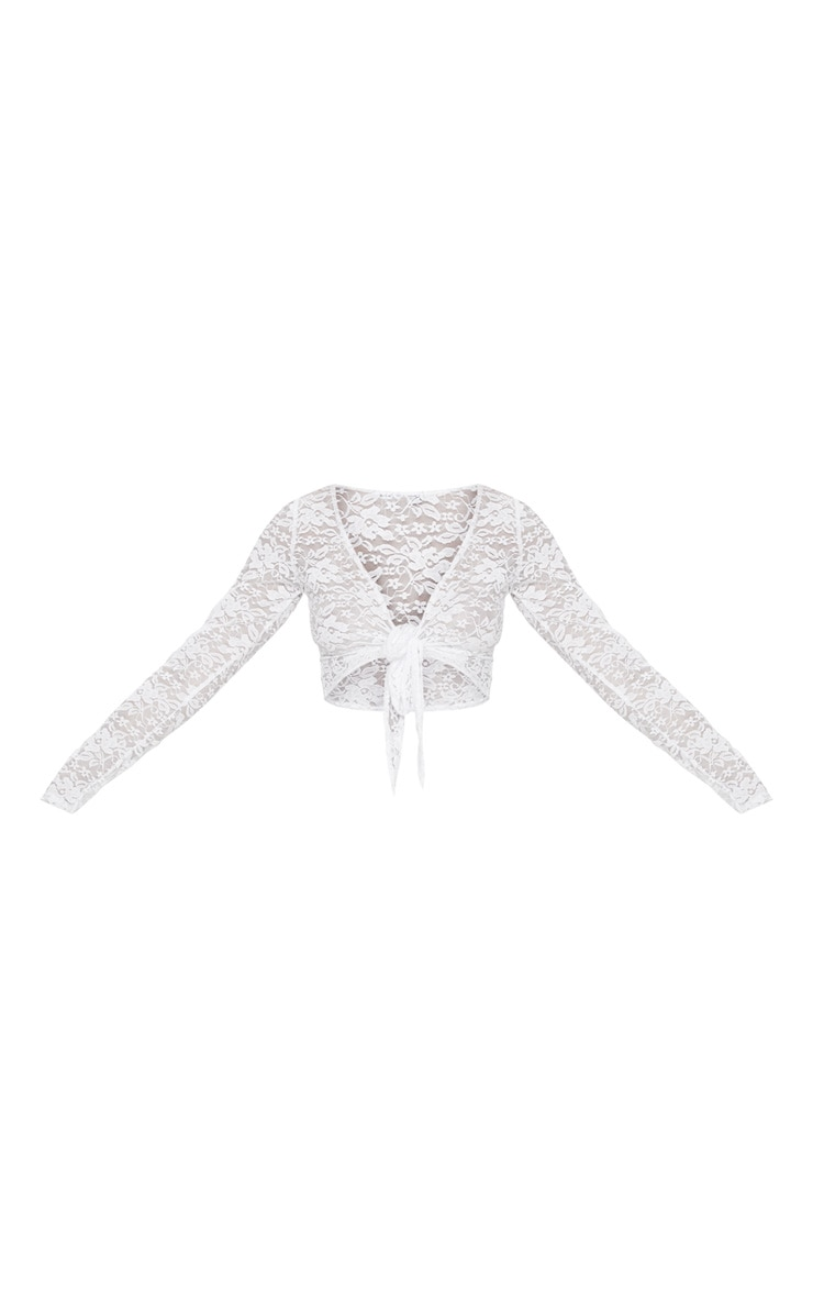White Lace Tie Front Beach Top 3
