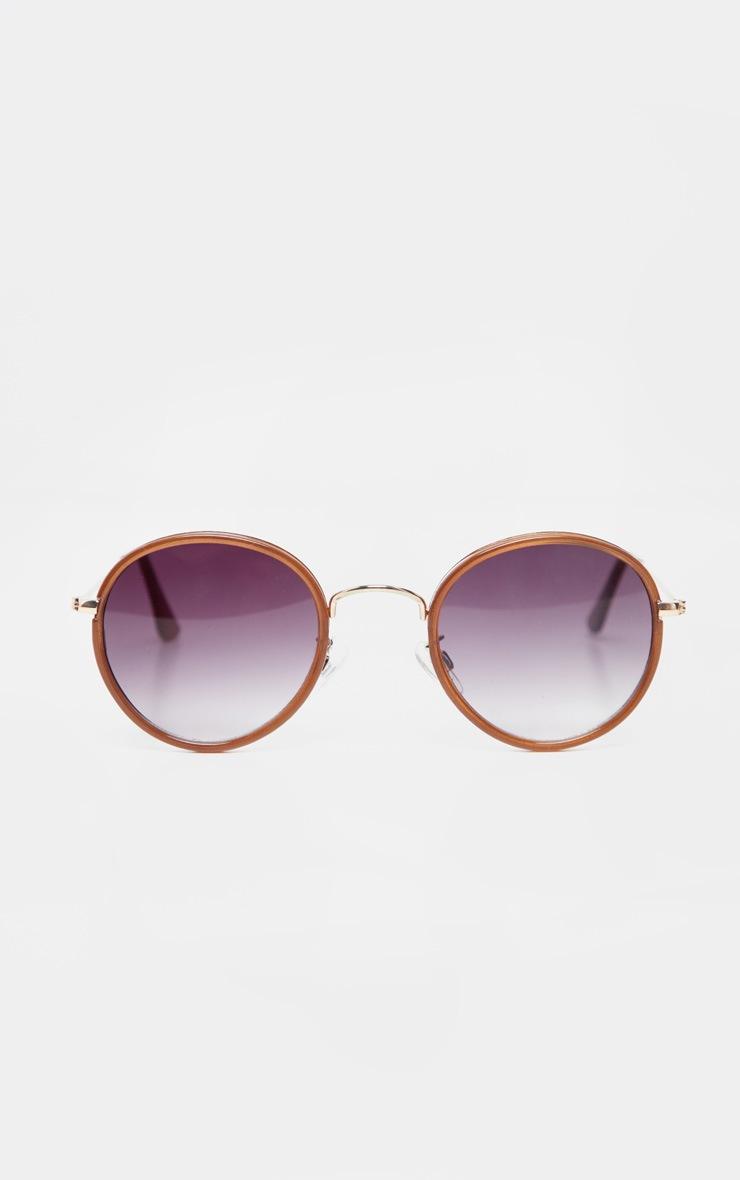 Brown Lens Round Frame Retro Sunglasses 2