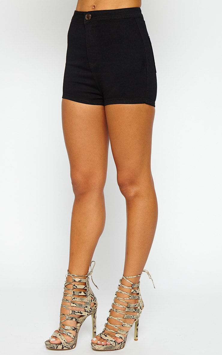 Ursla Black Disco Fit Denim Shorts 5