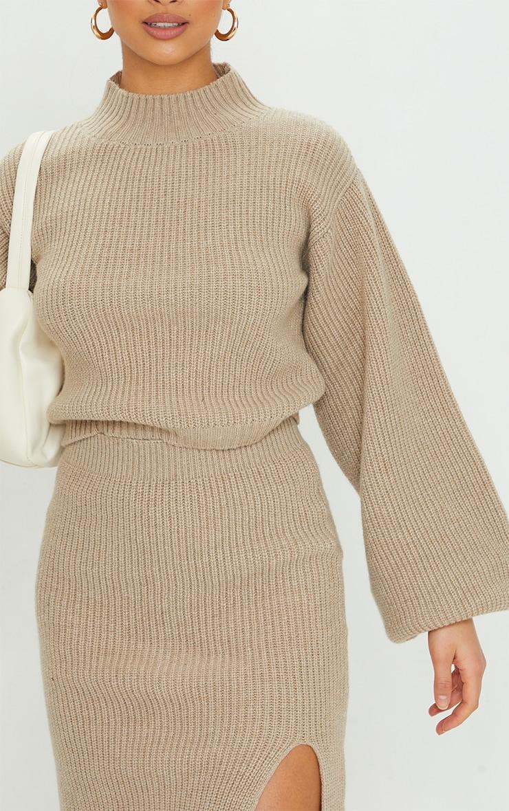 Petite Stone Oversized Balloon Sleeve Knitted Crop Sweater 4