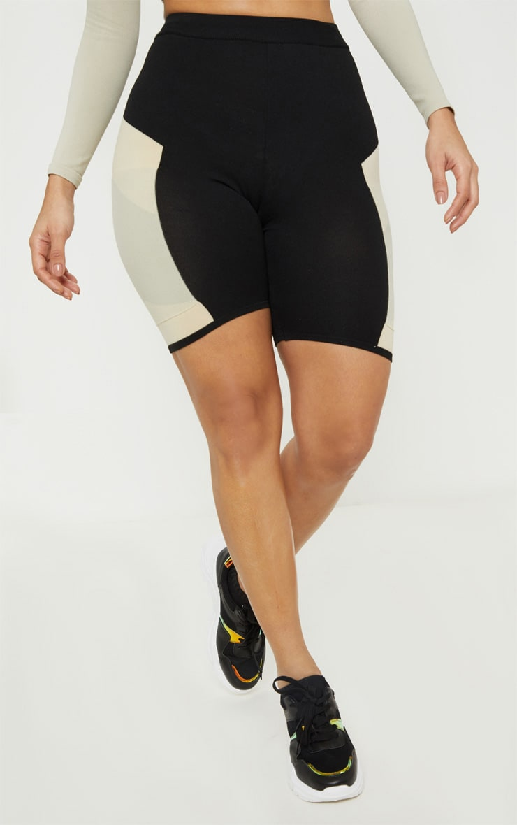 Stone Seamless Knit Panelled Gym Cycle Short 2