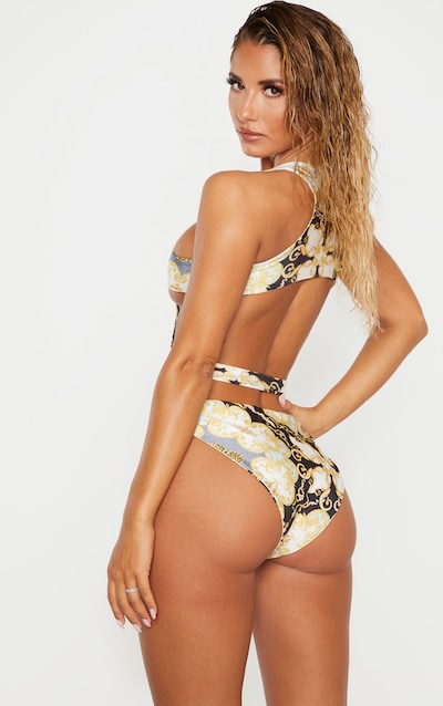 Black Chain Print Cut Out High Neck Swimsuit